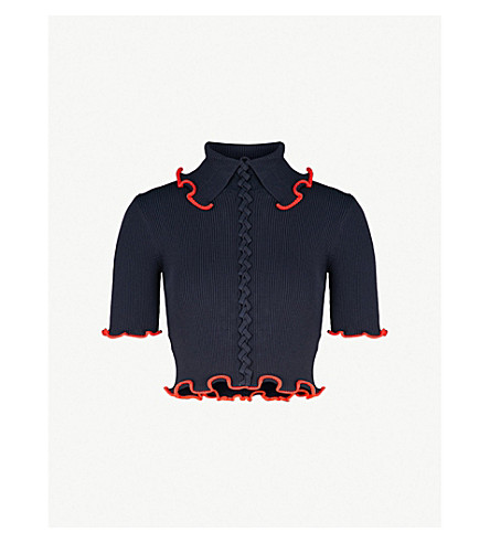 OPENING CEREMONY Criss Cross ribbed-knit top (Collegiate+navy