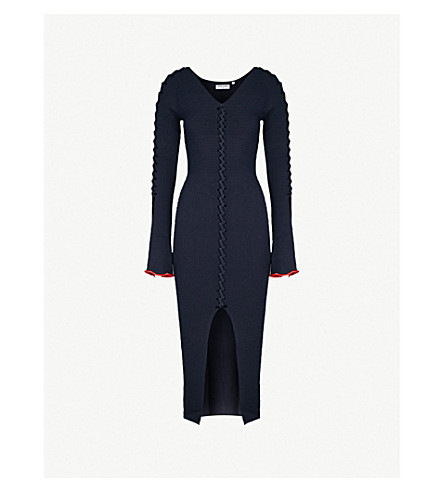 OPENING CEREMONY Criss Cross ribbed-knit midi dress (Collegiate+navy