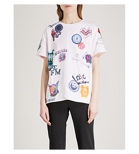 OPENING CEREMONY Sisters reversible cotton-jersey T-shirt (Pearl+pink+multi