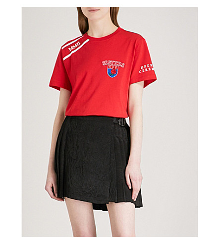 OPENING CEREMONY Sorority cotton-jersey T-shirt (Jewel+red