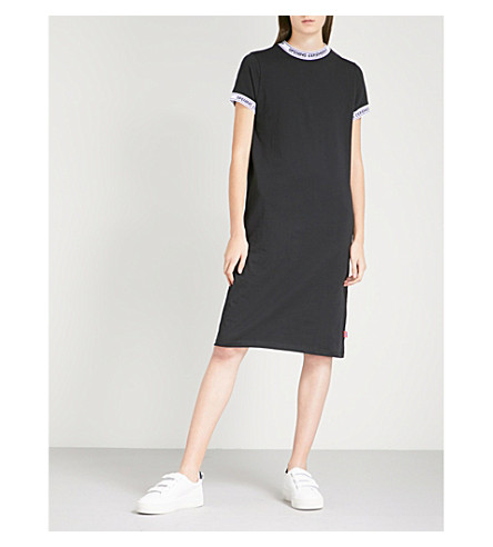 OPENING CEREMONY 标志-装饰棉质平纹针织衫连衣裙 (黑色