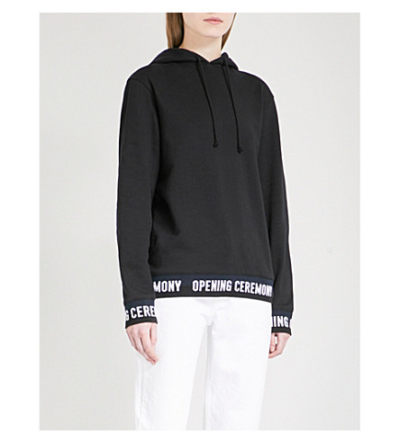 OPENING CEREMONY Logo-trim cropped cotton-jersey hooded sweatshirt (Black+multi