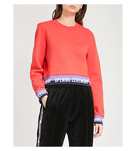 OPENING CEREMONY Logo-trim cropped cotton-jersey sweatshirt (Jewel+red