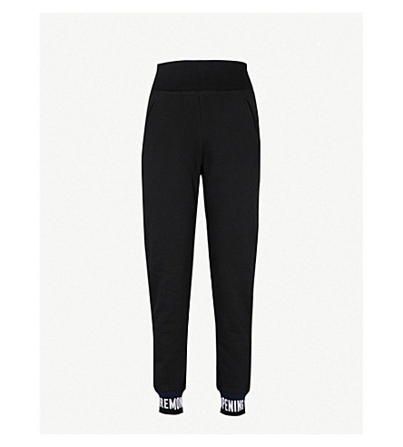 OPENING CEREMONY Logo-trim relaxed-fit cotton-jersey bottoms (Black