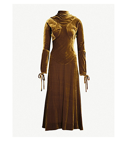 VIVIENNE WESTWOOD ANGLOMANIA High-neck velvet dress (Tobacco