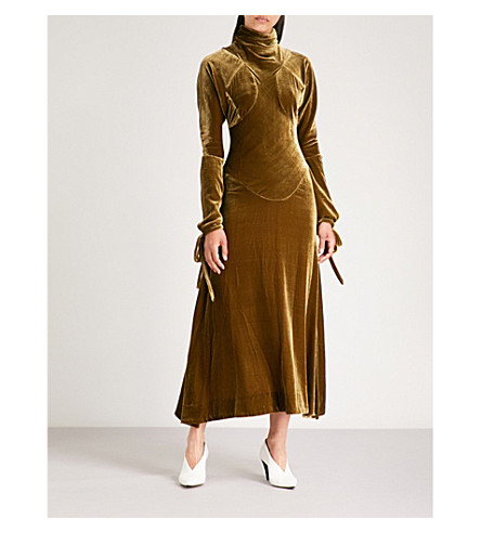 VIVIENNE WESTWOOD ANGLOMANIA High-neck velvet dress Tobacco Exclusive 45UYYBI