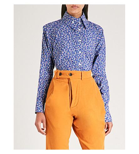 VIVIENNE WESTWOOD ANGLOMANIA 曲线 Krall 棉衬衫 (蓝色