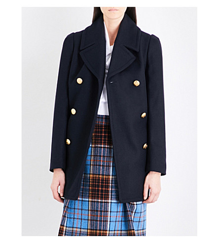VIVIENNE WESTWOOD ANGLOMANIA Mosto double-breasted wool-blend coat (Blue+black