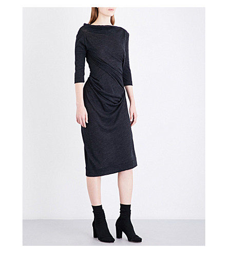 ANGLOMANIA Taxa ruched fitted wool dress (Grey