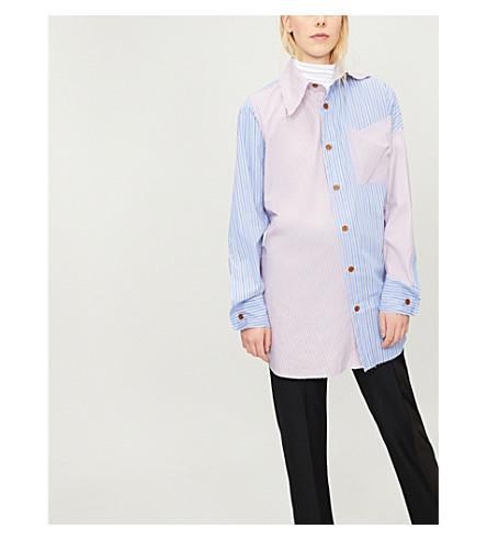 VIVIENNE WESTWOOD Lottie patchwork-stripe cotton shirt (Mix+blue/red+stripes