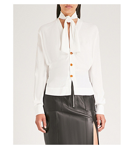 VIVIENNE WESTWOOD 脖子领带绉 BLOUSE (关闭 + 白色