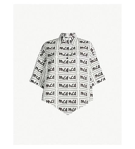 MCQ ALEXANDER MCQUEEN Knot-detail logo-print woven shirt (Ivory