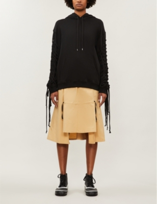 Ritual fringed-sleeve cotton-jersey hoody