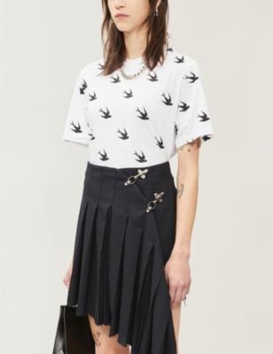 Swallow-print cotton-jersey T-shirt