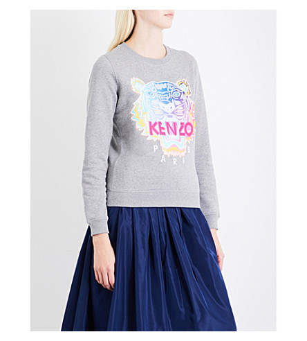 KENZO Classic tiger-motif cotton-jersey sweatshirt (Dove+grey