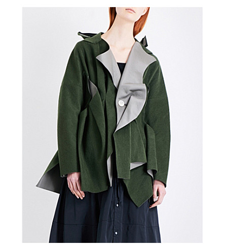 UNDERCOVER Asymmetric wool-blend coat (Khaki