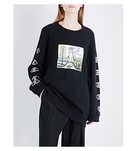 UNDERCOVER Graphic-print cotton-jersey sweatshirt (Black