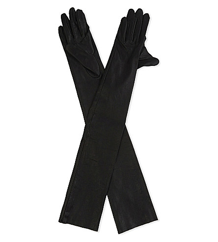 UNDERCOVER Webbed leather elbow-length gloves (Black