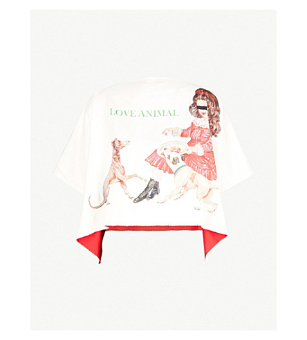 UNDERCOVER Love Animal Hate Human reversible satin top (Ivory+/+red