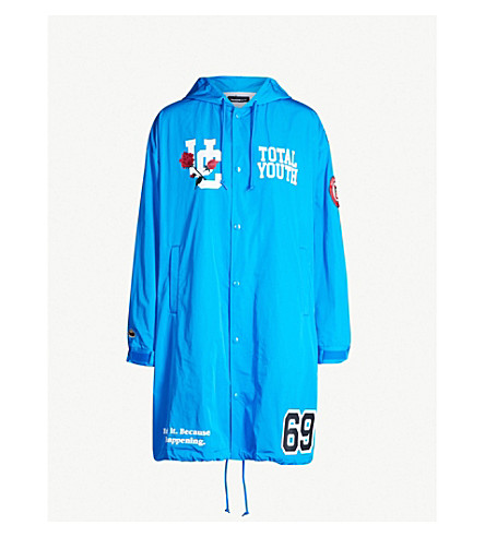 UNDERCOVER Motif-print hooded shell coat (Blue