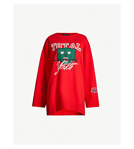 UNDERCOVER Motif-print cotton-jersey sweatshirt (Red
