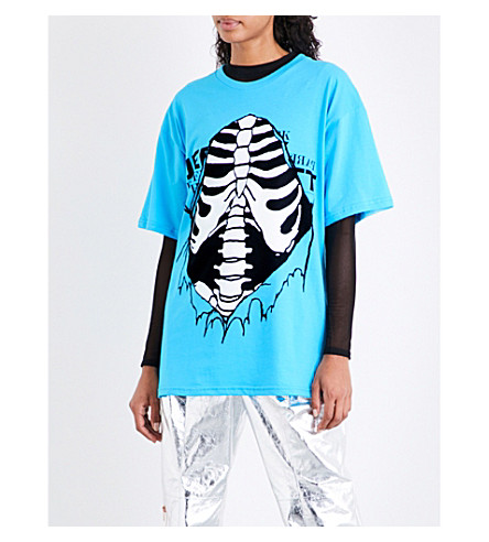 JEREMY SCOTT Open Ribs cotton-jersey T-shirt (Blue