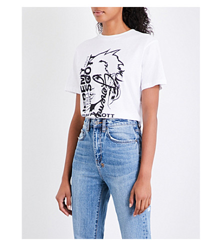 JEREMY SCOTT Sketch cotton-jersey T-shirt (White