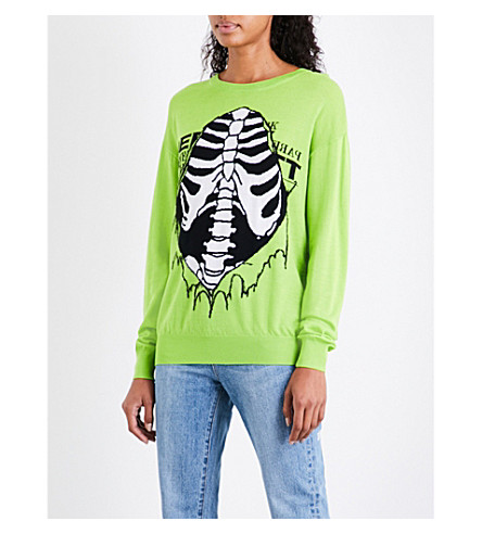 JEREMY SCOTT Open Ribs wool jumper (Lime