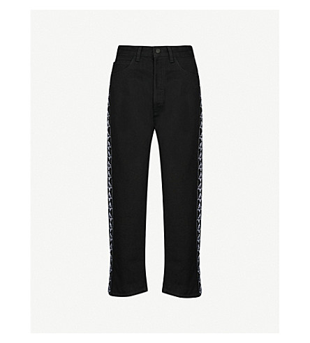 MARCELO BURLON Kappa boyfriend-fit high-rise jeans (Black