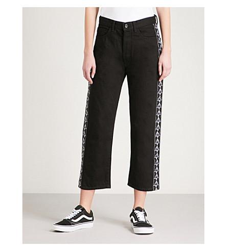 MARCELO BURLON Kappa boyfriend-fit high-rise jeans (Black