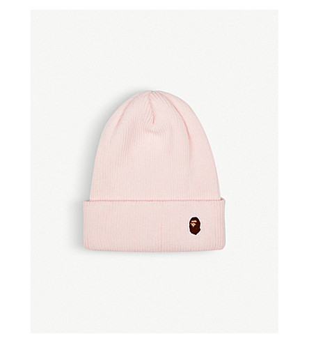 BAPE Logo-embroidered knitted beanie (Pink