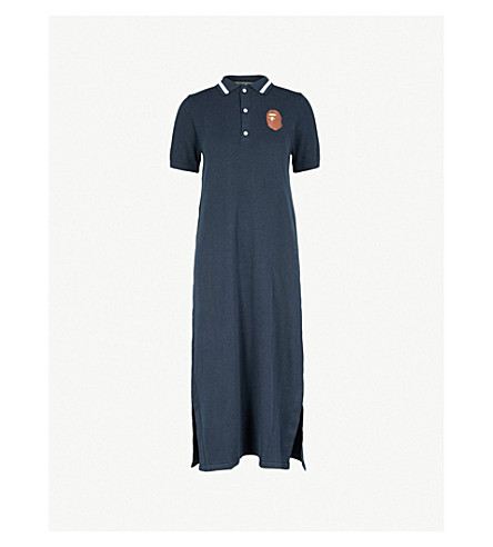 BAPE Logo-embroidered knitted midi dress (Navy