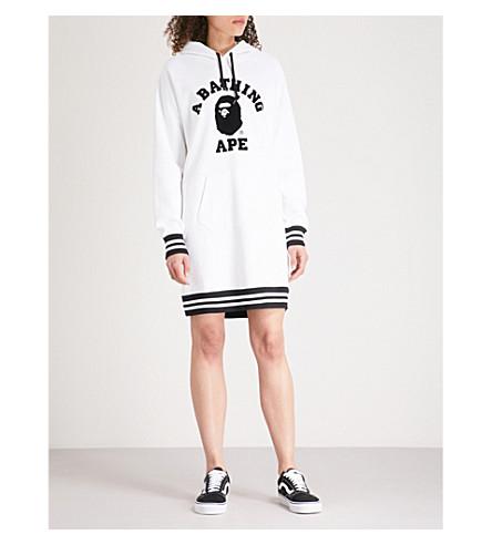 BAPE Striped-trim printed cotton-jersey hoody dress (White