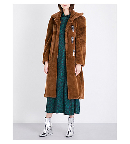 TOGA Bead-embellished faux-fur coat (Brown