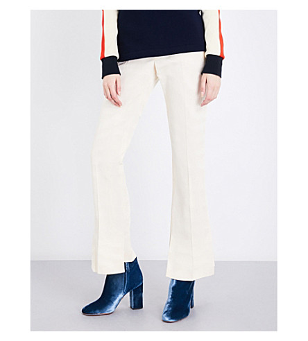 TOGA Moire stepped-hem high-rise flared silk-blend trousers (Off+white