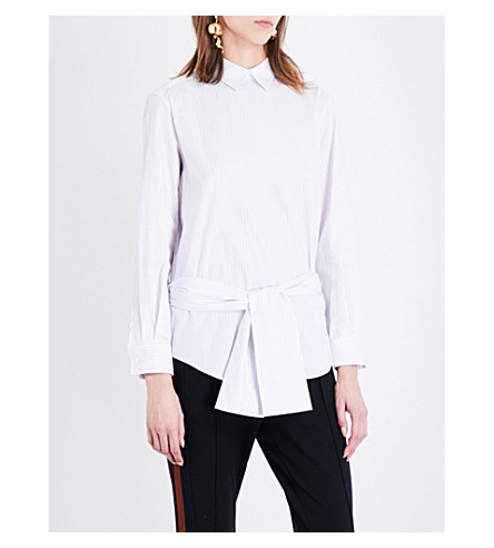 TOGA Belted striped cotton shirt (White