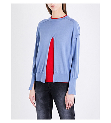 TOGA Detachable-layer wool jumper (Light+blue