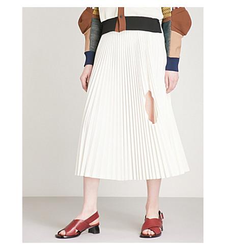 TOGA Cutout-detail pleated high-rise woven skirt (White