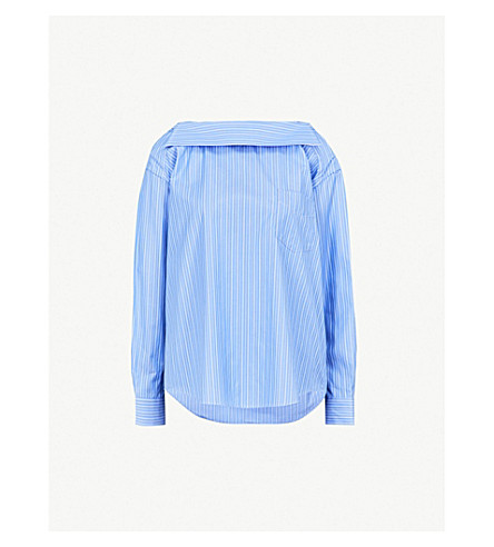 TOGA Off-the shoulder striped cotton shirt (Stripe+blue