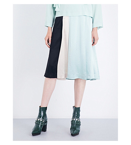 TOGA A-line satin midi skirt (Light+green