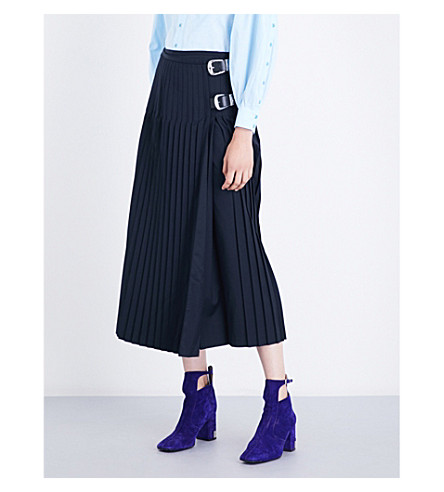 TOGA Pleated wool-blend skirt (Navy