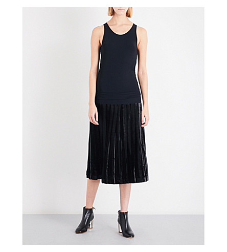 TOGA Pleated jersey and velvet dress (Black