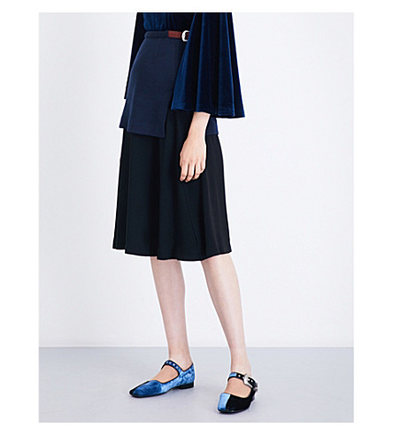 TOGA A-line wool-jersey and crepe skirt (Navy