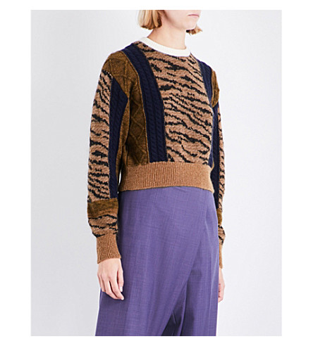 TOGA Tiger-embroidered wool-blend jumper (Beige