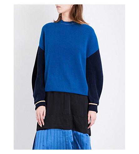 TOGA Contrast-sleeve oversized wool jumper (Blue