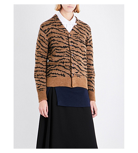 TOGA Tiger-embroidered wool-blend cardigan (Beige