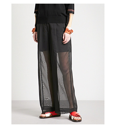 TOGA High-rise wide-leg mesh trousers (Black