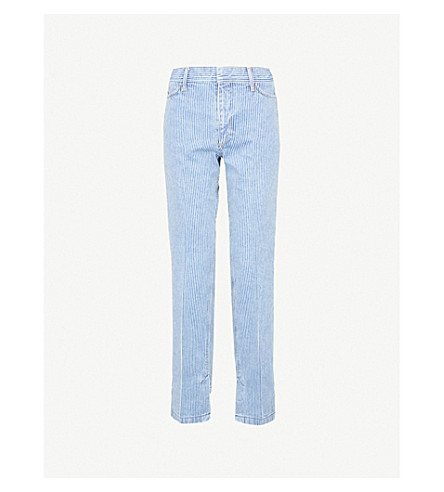 TOGA Striped regular-fit straight high-rise jeans (Navy+white