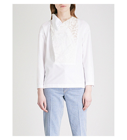 TOGA Asymmetric-neck lace and cotton-poplin top (White