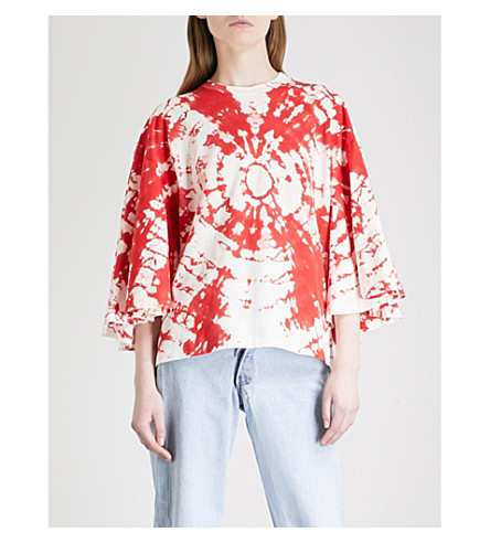 TOGA Tie-dye cotton-jersey top (Red